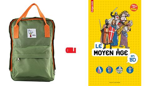 Le sac à dos Ariol et Le livre Le Moyen âge en BD