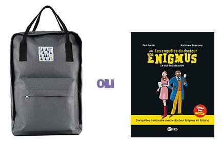 Le sac à dos tendance et le livre Les enquêtes du Dr Enigmus